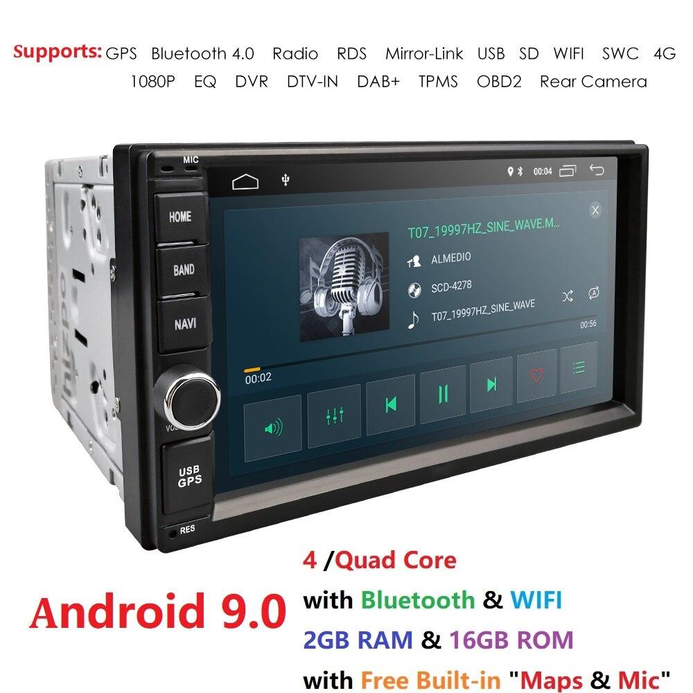 2G RAM Android 9.0 Auto Radio Quad Core Polegada 2DIN 7 Universal Carro SEM DVD player GPS Áudio Estéreo unidade de cabeça Apoio DAB DVR OBD BT