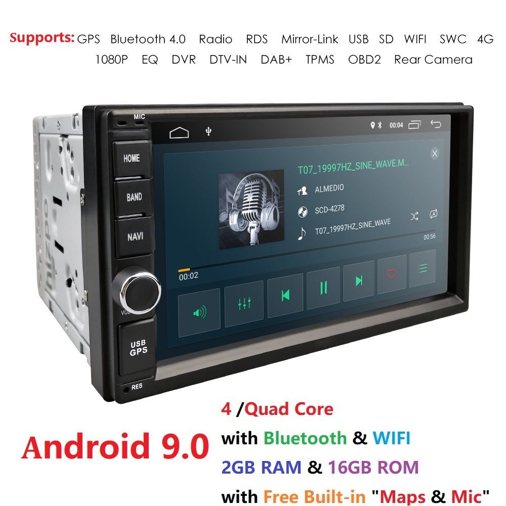 2G RAM Android 9.0 Auto Radio Quad Core 7Inch 2DIN Universal Car NO DVD player GPS Stereo Audio Head unit Support DAB DVR OBD BT image