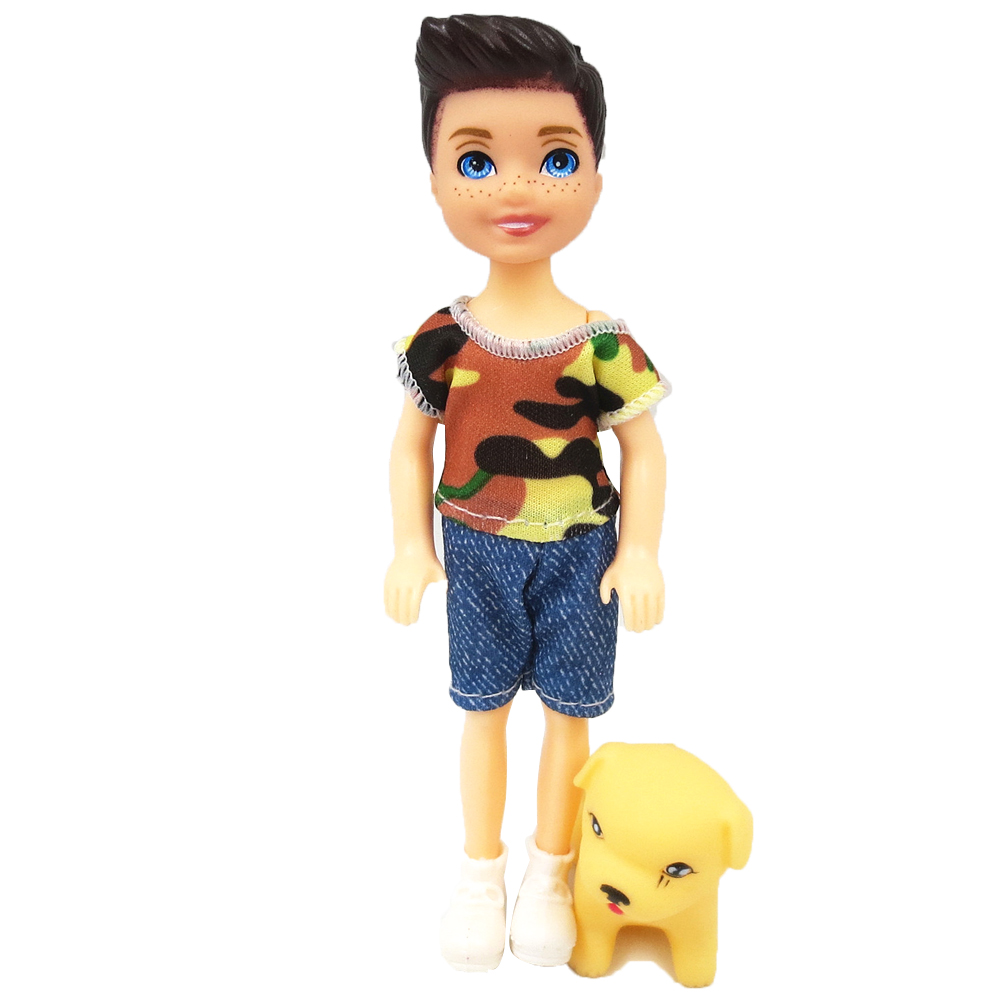 NK 1 Set Boy's Doll 5 Movable Jointed Mini Doll 14 Cm Cute Doll + Shoes+Outfit For Kelly Male Doll Girls Gift Baby Toys 10C 1X