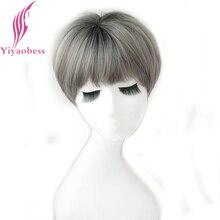 Yiyaobess peluca corto sintético bob para mujer, postizo marrón, lino, gris, Chocolate, Negro, Rosa, púrpura, degradado, regalo de fibra de alta temperatura