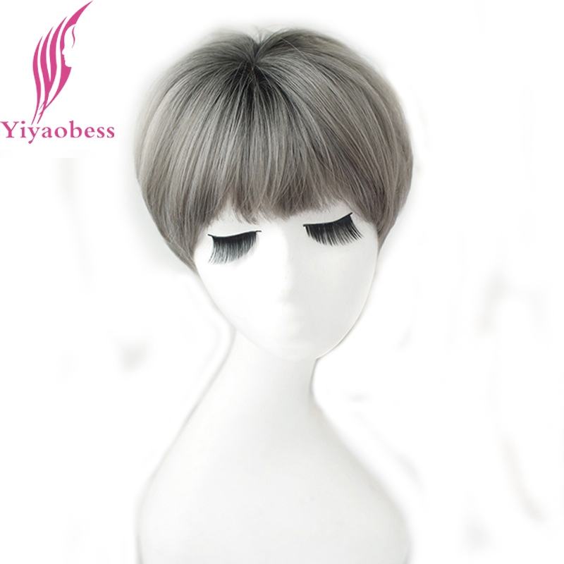 Yiyaobess Synthetic Short Bob Wig Brown Linen Grey Chocolate Black Pink Purple Ombre Wigs For Women High Temperature Fiber Gift