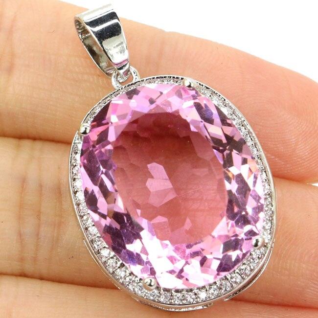 Grand ovale pierre précieuse 22x18mm rose Kunzite blanc CZ femme 925 argent pendentif 25x20mm