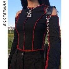 BOOFEENAA point de contraste noir Sexy ajusté t-shirts femmes gothique vêtements Harajuku épaule froide à manches longues culture hauts C15-BZ13