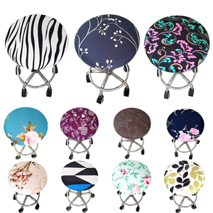 1 Pc Ornament Floral Printed Stool Cover Home Bar Office Meeting Seat Polyester Slipcover Four Seasons Seat Elastic Round Chair