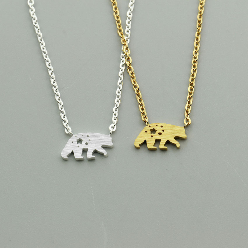 Polar Bear Gold Necklace Women Men Collar Mujer Stainless Steel Choker Necklaces Pendents Jewelry Wedding Band Bridesmaid Gift in Chain Necklaces from Jewelry Accessories