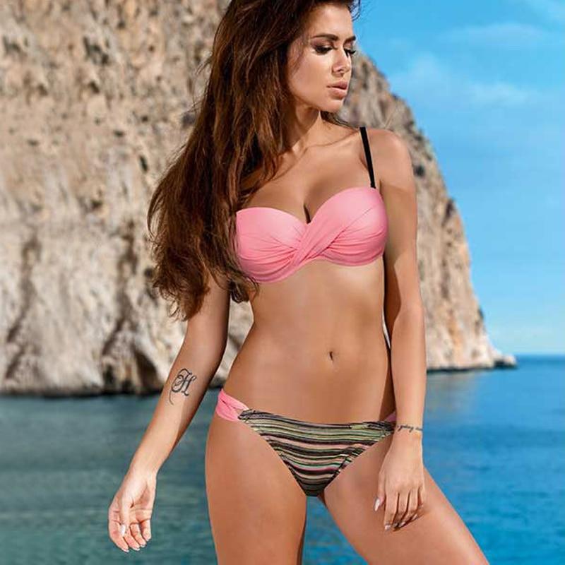 New Solid Bikini Beachwear 2020 Low Waist Bikinis Two-piece Suit Swimwear Bathing Suit Women Thong Bikini Push Up Swimsuit Women 2
