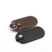 Bolsas de almacenamiento con cerrojo de cuero genuino para disco U, cubierta protectora para llaves, maletines negros para unidad Flash USB, pendrive