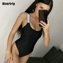 Rivertrip Shiny One Piece Swimsuit Solid Patchwork Swimwear Women Backless Bathing Suit 2019 Beachwear New Fused