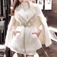 Long Coat Women Abrigos Mujer Invierno Cloak Coat Woman Autumn and Winter Mink Fringed Beaded Cloak Jacket