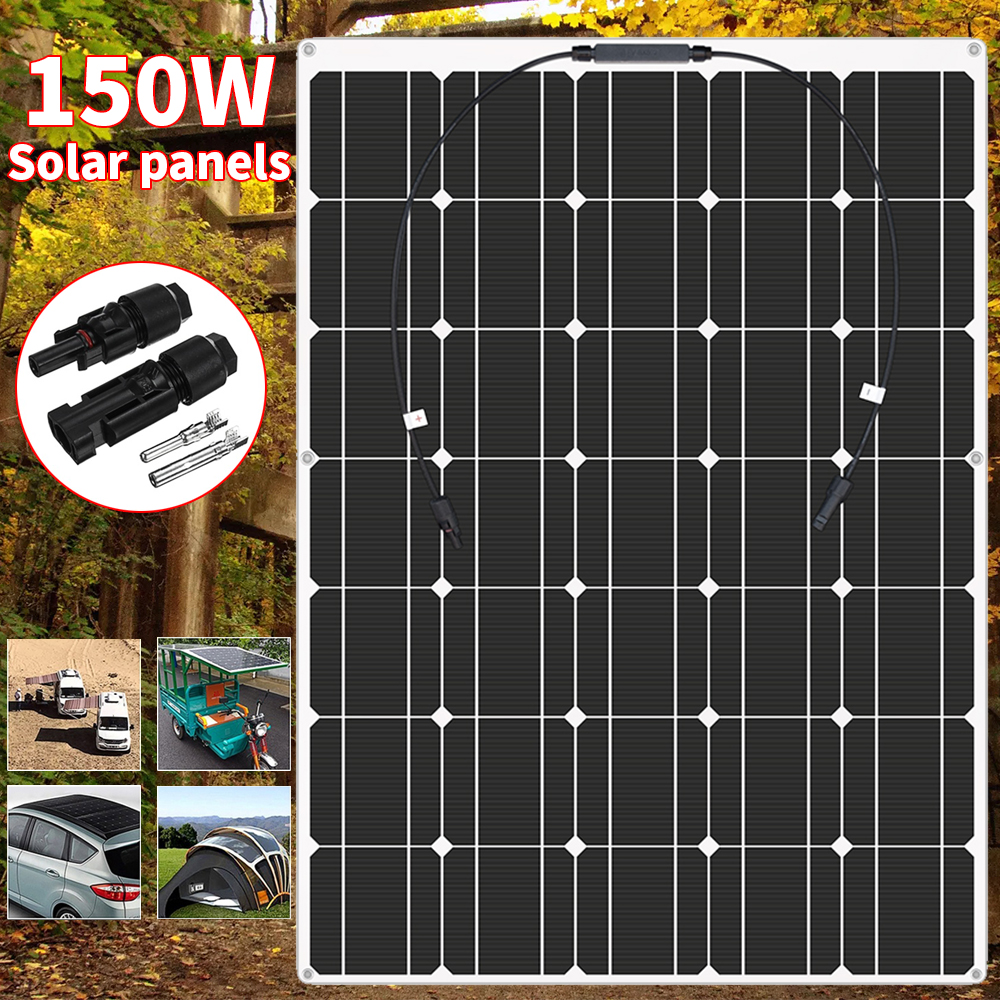 <font><b>Solar</b></font> <font><b>Panel</b></font> <font><b>150W</b></font> 18V Semi-flexible Monocrystalline <font><b>Solar</b></font> Cell DIY Module MC4 Cable Outdoor Connector Battery Charger Waterproof image