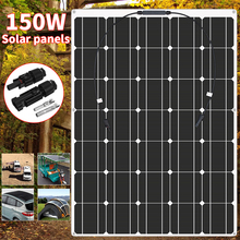 Solar Panel 150W 18V Semi-flexible Monocrystalline Solar Cell DIY Module pv Cable Outdoor Connector Battery Charger Waterproof kinco 120w 18v semi flexible solar panel monocrystalline silicon folding solar system power supply for car battery charger