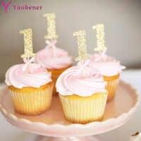 Primer Cumpleaños niña fiesta 10 Uds papel brillante 1 Cupcake Topper cumpleaños decoración de mesa de fiesta Baby Boy My 1st One Year Supplies