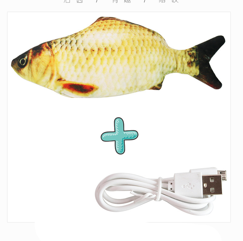 Cat USB Charger Toy Fish Interactive Electric floppy Fish Cat toy Realistic Pet Cats Chew Bite Toys Pet Supplies Cats dog toy 13
