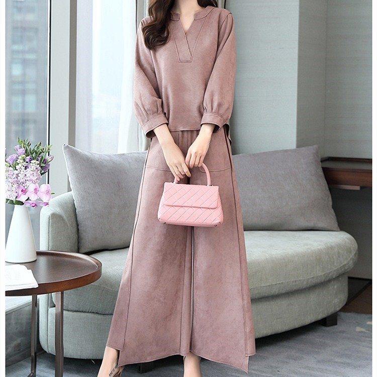 Tide Vogue Female Pockets Long Sleeve Two Piece Suits V-Neck Spring Autumn Office Lady Loose Solid Sets