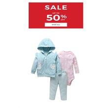 תינוקת בגדים ארוך שרוול ברדס מעיל + romper ורוד + מכנסיים 2020 אביב סתיו יילוד תלבושת חמוד תינוקות בגדים סט כותנה