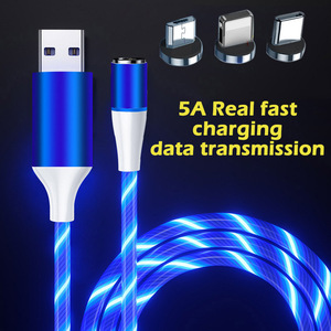 3A magnetic fast charging cable glowing Luminous Lighting Data cable usb type c phone charger for iphone huawei xiaomi cord