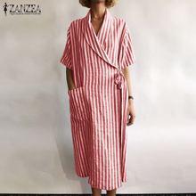 Shirt Dress Robe Short-Sleeve Vestidos Neck Striped Plus-Size Fashion Casual Women's