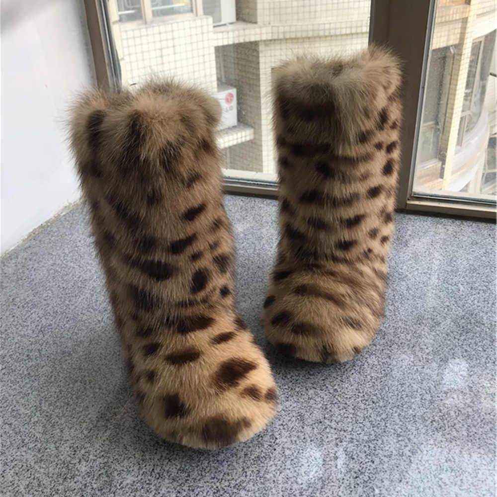 Winter Womens Fur Trim Furry Block Low Heel Mid Calf Boots Warm Snow Shoes size