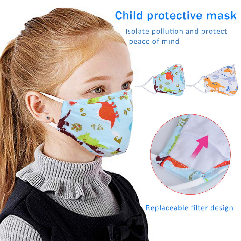 Kids Cartoon Mouth Masks Printing Dustproof Breathable PM2.5 Cotton Mouth Face Nose Mask Cover With Filter Respirator Anti-Dust