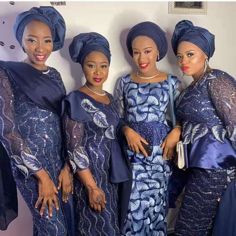 New Arrival African Lace Fabric 2020 High Quality Lace Sequins Navy Blue Nigerian Lace Fabric Clothes For Women 5Yards NA2985B-1