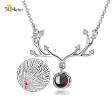 цена на Hot 2019 Deer Horn Pendant Necklace for Women 100 Languages I Love You Memory Projection Necklace Wedding Jewelery Gifts for Her
