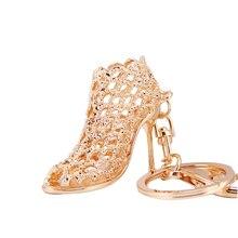 High Heel Shoes Keychain Keyring Crystal Rhinestone Car Key Rings Women Bag Charms Fashion Key Holder trendy rhinestone cut out winebottle keyring