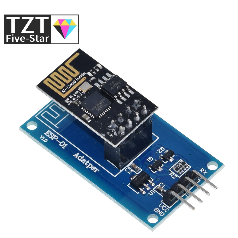 TZT ESP8266 ESP-01 Serial WiFi Wireless Adapter Module 3.3V 5V Esp01 Breakout PCB Adapters Compatible For Arduino