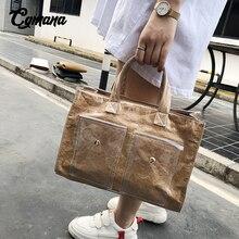 Large Capacity PVC Transparent Bags 2019 Adjustable Strap Kraft Paper Messenger Bag Handbags Women Brand Designer Tote