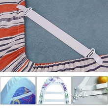 4 Pcs White Bed Sheet Mattress Cover Blankets Home Grippers Clip Holder Fasteners Elastic Straps Fixing Slip-Resistant Belt