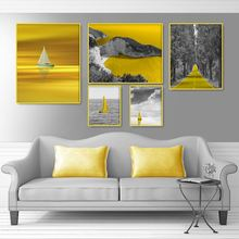 Golden Sea Forest Landscape Canvas Painting Nordic Boat Ocean Scenery Poster And Print Room Decoration Picture Home Decor