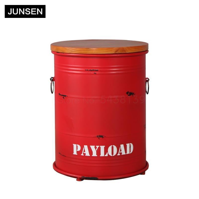 American retro bar chair oil barrel stool paint barrel bar stool round metal bucket bar stool storage stool
