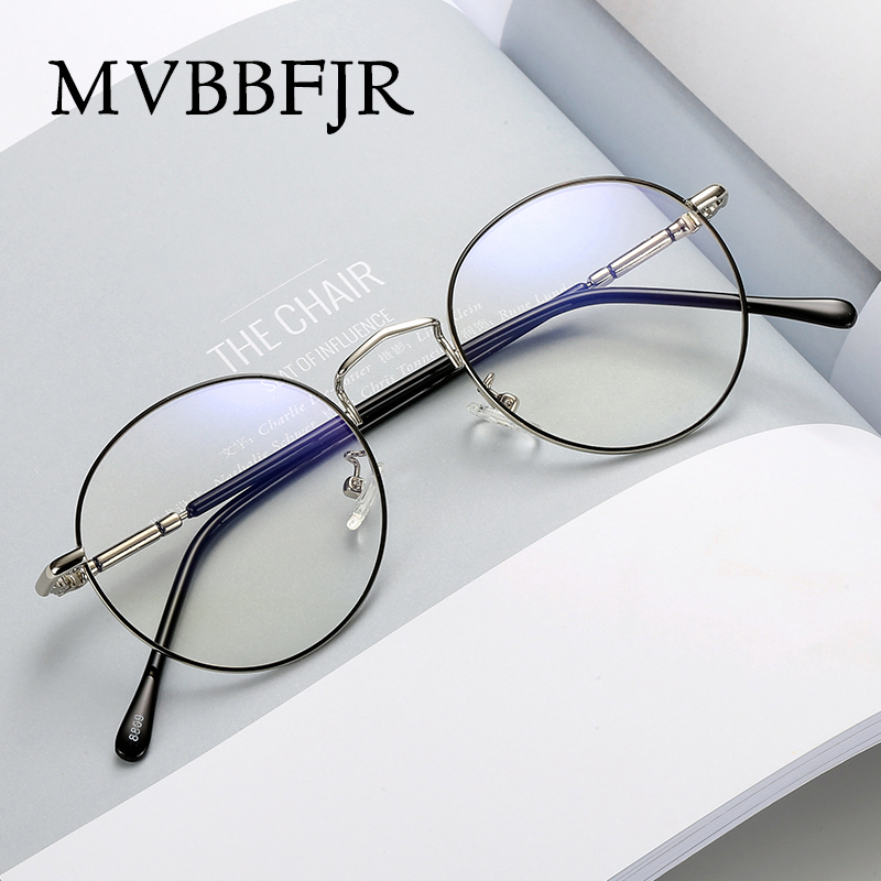 MVBBFJR Fashion Men Women Metal Eyewear Frame Round Goggle Vintage Retro Optical Glasses For Myopia Prescription Brand Designer