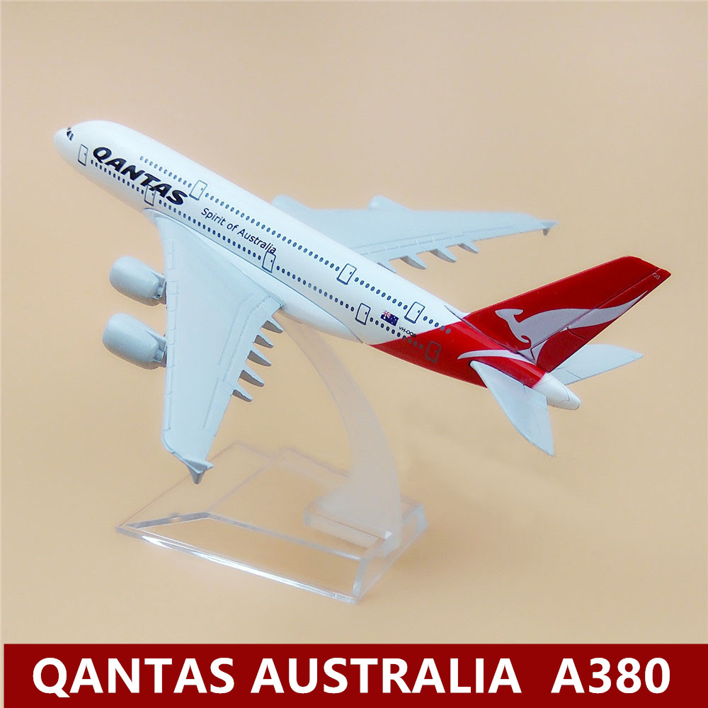 16cm Air QANTAS Spirit Of Australia <font><b>A380</b></font> Alloy Metal Plane <font><b>Model</b></font> Airlines Airplane <font><b>Model</b></font> <font><b>Airbus</b></font> 380 Airways Stand Aircraft <font><b>Model</b></font> image