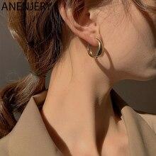 ANENJERY 925 Sterling Silver Hoop Earrings for Women Minimalist Geometric Ear Hoops Party Jewelry Gifts S-E1373