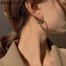 ANENJERY 925 Sterling Silber Hoop Ohrringe für Frauen Minimalistischen Geometrische Ohr Hoops Partei Schmuck Geschenke S-E1373