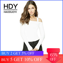HDY Haoduoyi Solid White Off Shoulder Backless Sexy Women Tops Slash Neck Full Sleeve Slim Lady Sweater Casual Sweet Pullovers(China)
