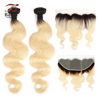BOBBI COLLECTION racine sombre platine Blonde 1B 613 paquets avec frontale brésilienne vague de corps Remy cheveux humains armure 2/3 faisceaux