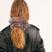 Ins Oversized Organza Scrunchies Women Floral Scrunchie Elastic Hair Bands Girls Headwear Rubber Hair Ties Big Ponytail Holder