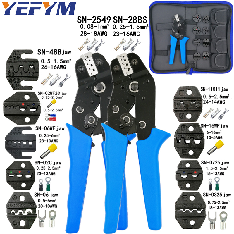 Crimping Tools Pliers Set For XH2.54 Pulg/tubular/tube/insulated Terminals SN-28BS SN-2549 8 Jaw Kit Electrical Pressing Pliers