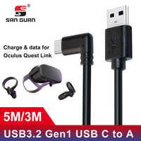 5M 3M câble de USB-C USB3.2 compatibilité avec le lien Oculus Quest angle droit type-c 3.2Gen1 vitesse transfert de données Charge rapide