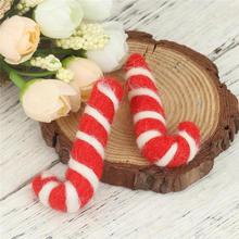 Doll Cane Christmas-Candy Craft Creative DIY Bear for Kit-Material 2pcs Animal Wool-Felt