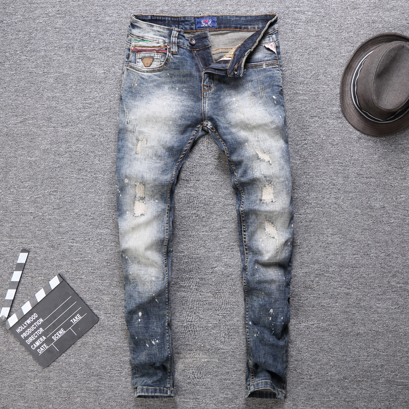 Italian Style Fashion Men Jeans Retro Wash Destroyed Ripped Jeans For Men Patchwork Designer Streetwear Hip Hop Jeans Homme