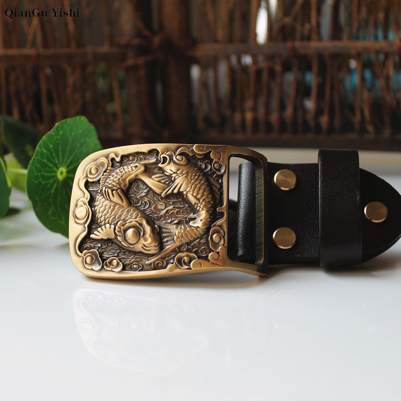 New Fashion Casual Men's Leather Belts Buckle Male Top Quality Carp Fish Luckly Copper Smooth Buckle Retro Belt For Men's Jeans
