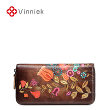 Luxury Designer Women's Wallet Leather Embroidery Long