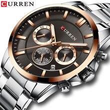 リロイ Hombres 高級ブランドCURRENクォーツクロノグラフ腕時計男性因果時計ステンレススチールバンド腕時計自動日付