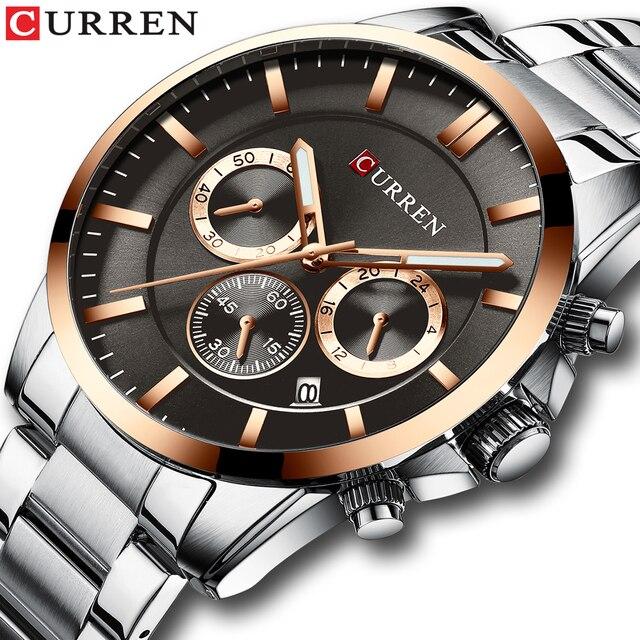 Reloj Hombresแบรนด์หรูCURREN Quartz Chronographนาฬิกาผู้ชายนาฬิกาสแตนเลสสตีลนาฬิกาอัตโนมัติวันที่