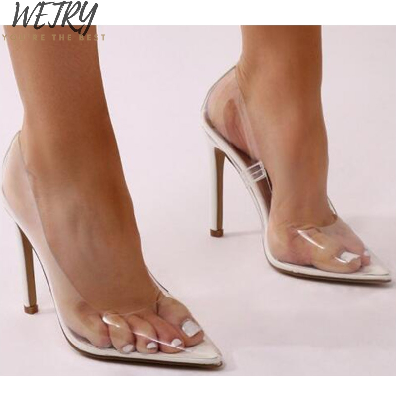 2019 New Clear PVC Transparent Pumps Sandals Heel Stilettos High Heels Point Toes Womens Party Shoes Nightclub Pump 35-42