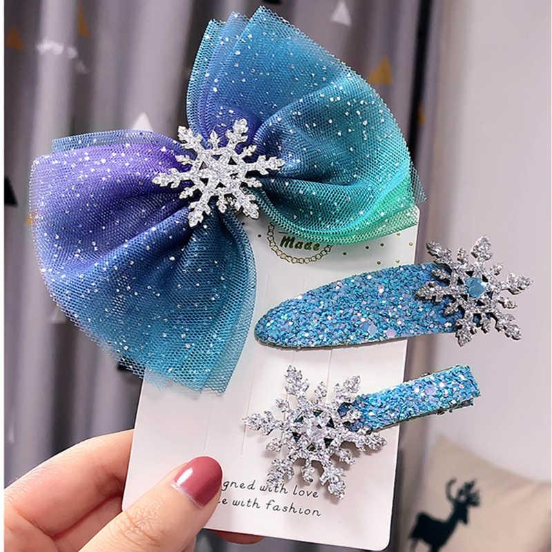 Bonitos niños copo de nieve estrellado lazo banda de goma de mascar para el pelo con lentejuelas horquillas niños fiesta de baile accesorios de Navidad