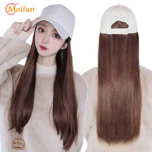 MEIFAN Fashion Women Baseball Cap Wig Long Hair All-in-one Baseball Hat New Adjustable Size Synthetic Hat Wig
