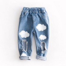 Spring Cloud Printing Jeans for Girls Casual Fashion Childrens Korean Style Boys Blue Ripped Kids